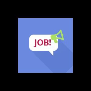 """Inhaltsgrafig zeigt eine Sprechblase mit dem Ausruf """"Job"""" und einem Megaphon"""