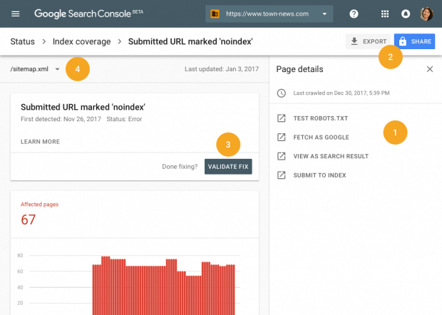 mpunkt Screenshot Google Search Console mit Statistiken vom Dashboard