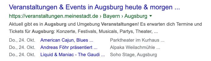 mpunkt screenshot 1 Suchergebnis mit einem Rich Snippet mit Terminen zu Veranstaltungen von meinestadt.de