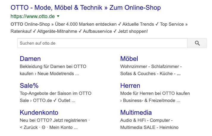 mpunkt screenshot 2 Suchergebnis mit strukturierten Datenin in Form eines Rich Snippets mit Sitelinks und integrierter Suche otto.de