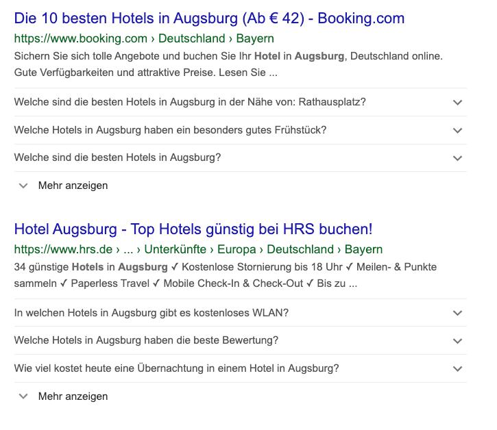 mpunkt screenshot 3 Suchergebnis mit strukturierten Daten bei Buchungsportale mit Fragen der Besucher