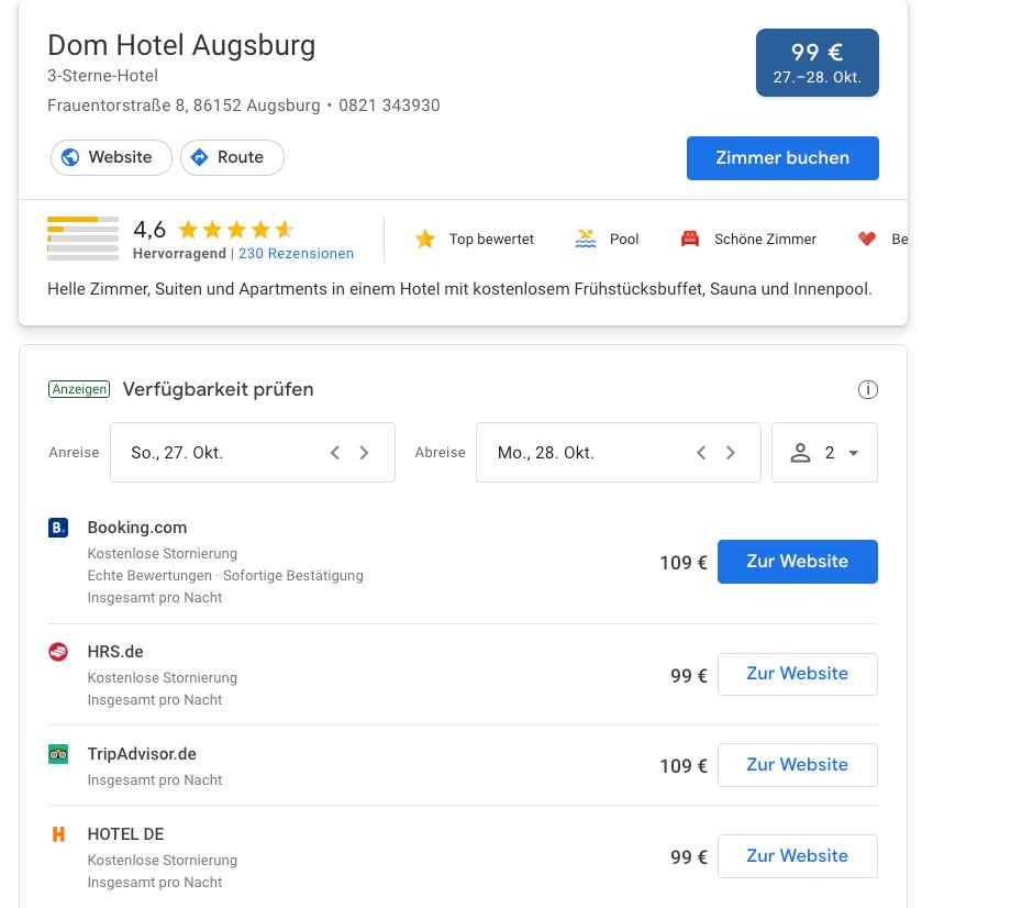 mpunkt screenshot 4 bezahlte Werbeanzeige mit strukturierten Daten zur Zimmerverfügbarkeit und Preis beim Hotel  Dom Hotel Augsburg
