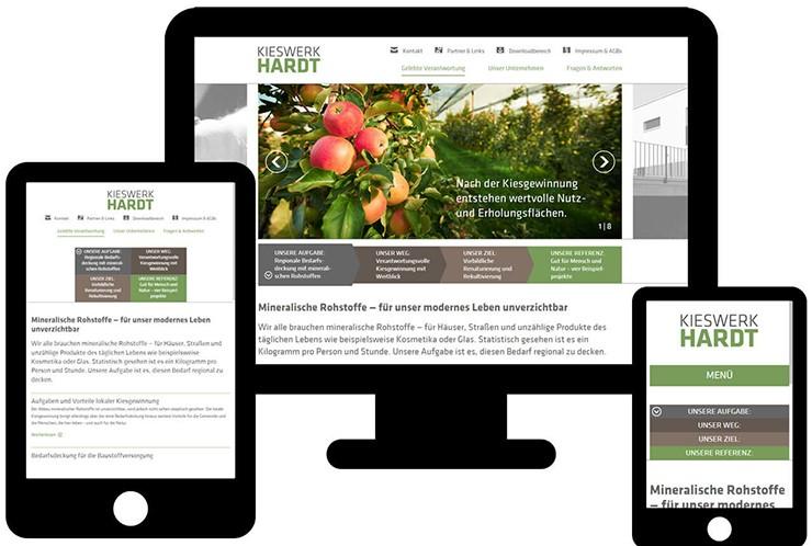 Beispiel einer Responsive Website auf Desktop, Tablet und Smartphone