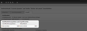 Screenshot: Nach Aufrufen der Seiten- oder Inhaltseigenschaften im Typo3 im Reiter Zugriff Veröffentlichungs- und Ablaufdatum pflegen