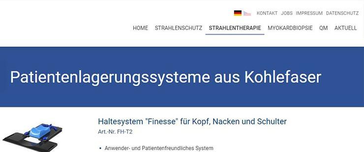Screenshot einer Website Navigation