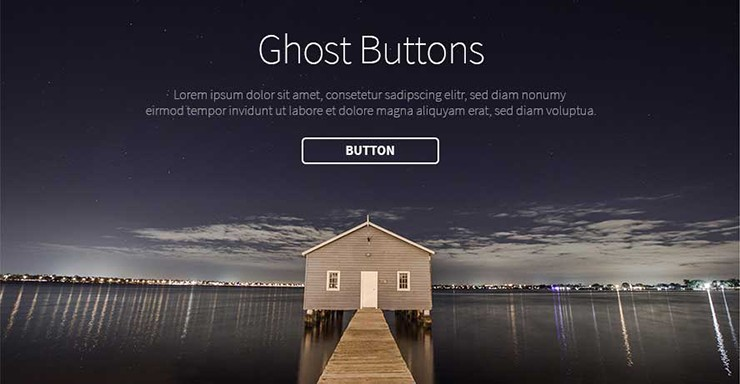 Screenshot: Beispielhafte Darstellung eines Ghost-Buttons bzw. einer minimalistischen transparenten Schaltflächen bestehend aus dünnem Rand, dicker Front und ohne Hintergrund