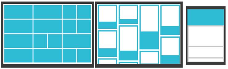 Darstellung des Kachel-Designs in verschiedenen Ausführungen auf Desktop und mobilen Geräten