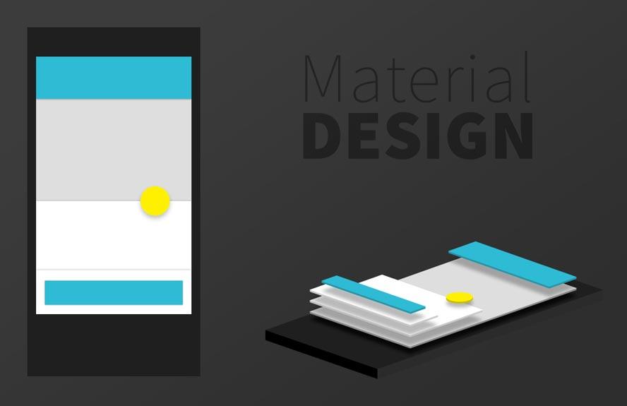 Darstellung der Ansicht des Material Design sowie dessen Vielschichtigkeit bestehend aus einzelnen Elementen auf einem Smartphone